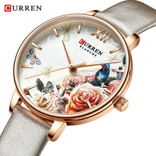 CURREN Beautiful Flower Bird Women Watch Fashion Casual Slim Analog Grey Leather Wrist Watches Ladies Dress Female Quartz Clock wavors vogue women watches cute cartoon cat leather band quartz watch ladies female watch analog dress wrist watches clock