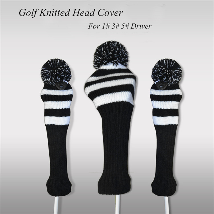 Knitting Pattern Golf Driver Cover : Aliexpress.com : Buy Black And White 3pcs/set Knitting Golf Clubs Headcover D...