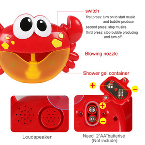 Image 3 - Outdoor Bubble Frog&Crabs Baby Bath Toy Bubble Maker Swimming Bathtub Soap Machine Toys for Children With Music Water Toy