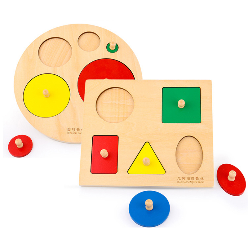 Toddlers Montessori Materials Toys Geometric Shape Fingers Panel Shape Color Sorters Large Pegged Puzzles Preschool Kindergarten