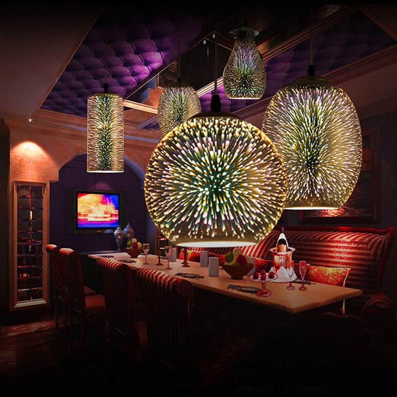 Modern 3D Plated Colorful Lamplight Glass Pendant Lamp Foyer Mall Lamp DIA:20/30CM E27 110-240V Free Shipping
