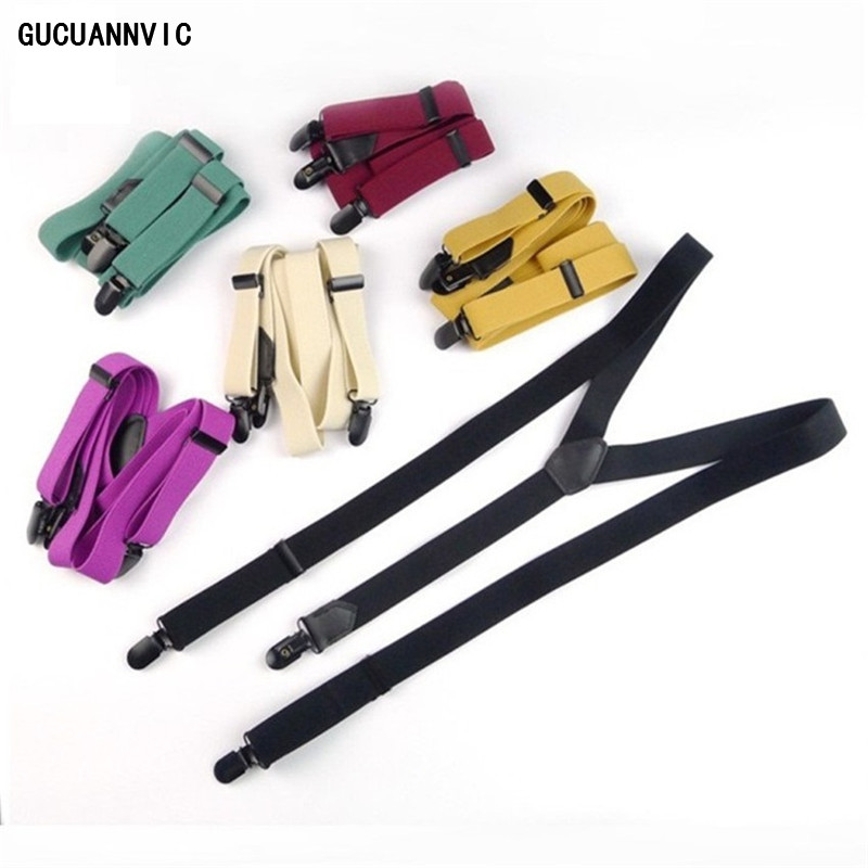 NEW6 kinds of pure color hanging suspenders men women 3 black clip braces men British fashion leather suture elastic adjustable