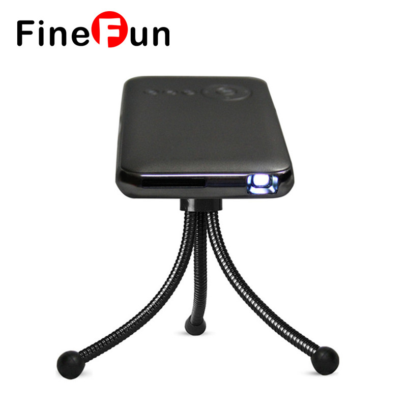 FineFun New MINI DLP projector Built in 5000mah Battery Andriod4.4 2.4G 5G WIFI Blutooth4.0 Smart 3D Portable Projector #A1480