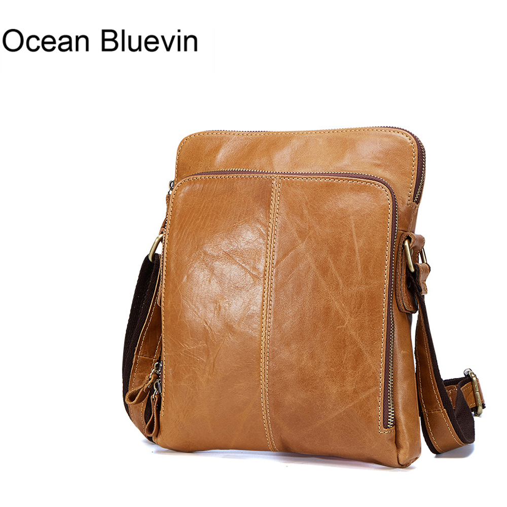 OCEAN BLUEVIN Genuine Leather Men Bags Male Cowhide Flap Bag Shoulder Crossbody Bags Handbags Messenger Small Men Leather Bag famous brand handbags small women flap messenger bags crossbody shoulder genuine first layer of cowhide leather shell bag female