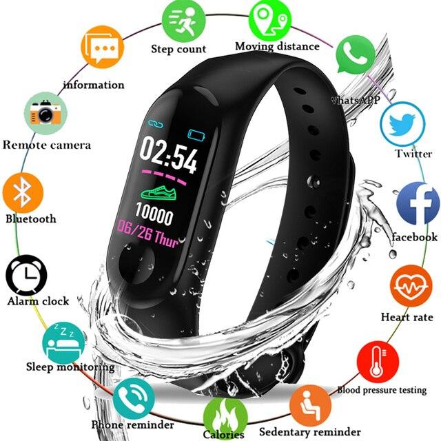 d911470e2379 2019 nuevo deporte pulsera inteligente presión arterial Monitor de ritmo  cardíaco reloj inteligente rastreador de Fitness podómetro banda de mujeres  de los ...
