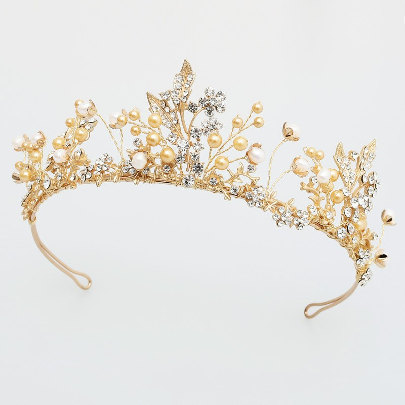 Dower me Gold Wedding Prom Crown Hair Accessories Bridal Leaf Headband Tiara Vintage Women Headpiece