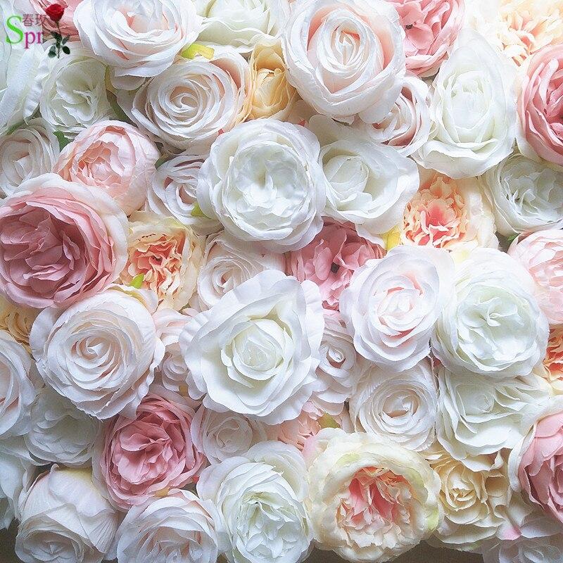 SPR 10 pcs/lot 3D artificielle rose pivoine fleur mur de mariage toile de fond fête événements artificielle fleur arrangements chemin de table