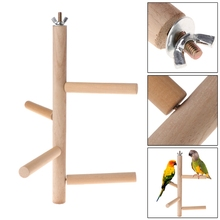 Bird Toys Parrot Perch 4 Layer Stages Toys Natural Wood Rotating Ladder Bird Parakeet Cage Birds Accessoires