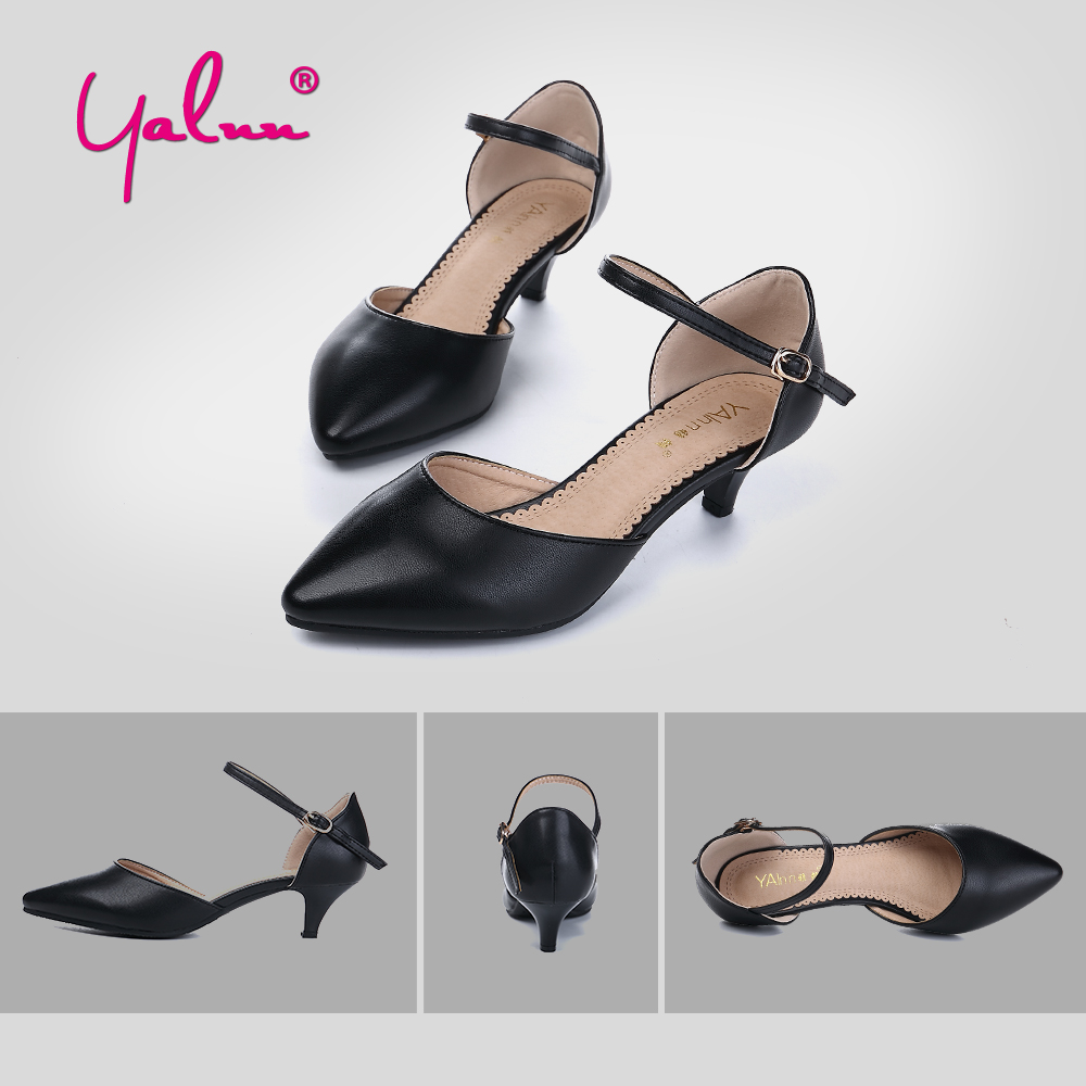 c13132076c1 Leather Office Summer Plus Size Ladies Shoes and Sandals Women Black Low  Heels Solid Elegant Mid Heel Shoes Woman Sandalie White-in Middle Heels  from Shoes ...