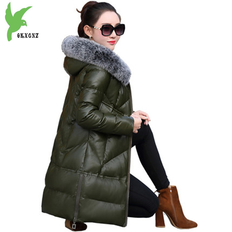 New women winter cotton jacket PU leather parkas Thick warm Outerwear Hooded Fur collar jacket Plus size female coats OKXGNZ1336 winter jacket female parkas hooded fur collar long down cotton jacket thicken warm cotton padded women coat plus size 3xl k450