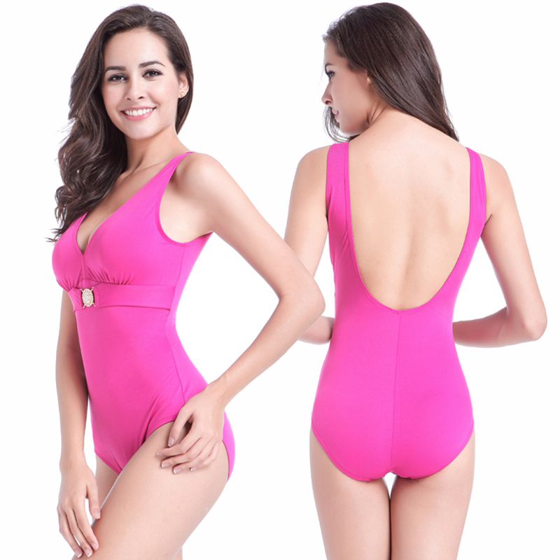 40c81a07c42 Buckled Center Swimming Clothes for Fat Women Big Female Swimming Wear Plus  Size Swimsuit Super XXXL Bathing Suits