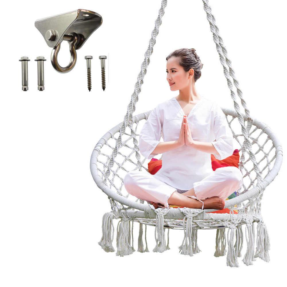 Huśtawka krzesło do ćwiczeń jogi krzesło wiszące zestaw do zawieszania hak obrotowy dla hamak huśtawka krzesło akcesoria ze stali nierdzewnej ze stali nierdzewnej zestaw kryty