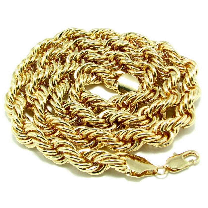 """رجالي الذهب والفضة مطلي 10MM حبل سلسلة طويلة الهيب هوب قلادة 36 """""""