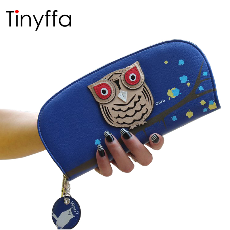 Tinyffa Cartoon Owl Wallet Women Purse Female Anime Credit Card Holder Coin Purse Ladies Wallet Leather Pink Zipper Girl Clutch 5 pcs lot cartoon anime wallet wholesale nintendo game pocket monster charizard pikachu wallet poke wallet pokemon go billetera