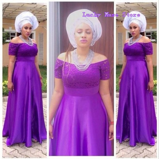 1843ff2d502 Plus Size Mother Of The Bride African Lady Formal Dresses Open Back Off The  Shoulder Ghanaian Style Long Purple Evening Dresses