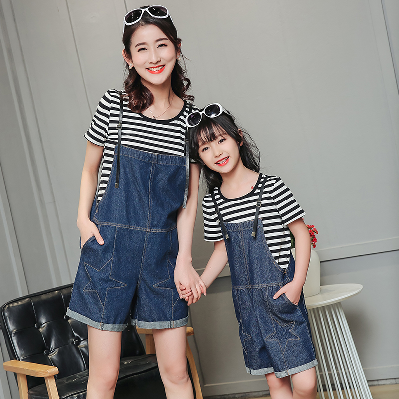 Matching Mother Daughter Son T-shirt Braces Baby Girl and Mother Rompers Outfit Ma e Filha Jeans Shorts Blue Suspenders T-shirt 2015 ma e filha page 1