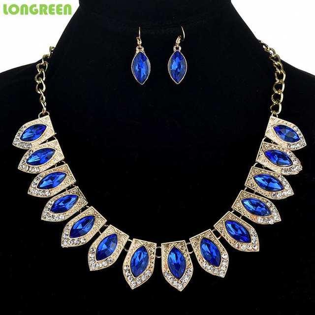 Multicolor Crystal Zircon Water Drop Jewelry Sets for Women Bridal Wedding bijoux africain parures 4