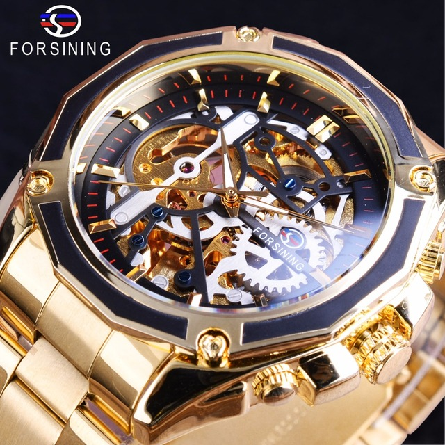 Forsining 2017 新コレクション透明ケースゴールデンステンレス鋼スケルトンの高級デザインメンズ腕時計トップブランド腕時計自動
