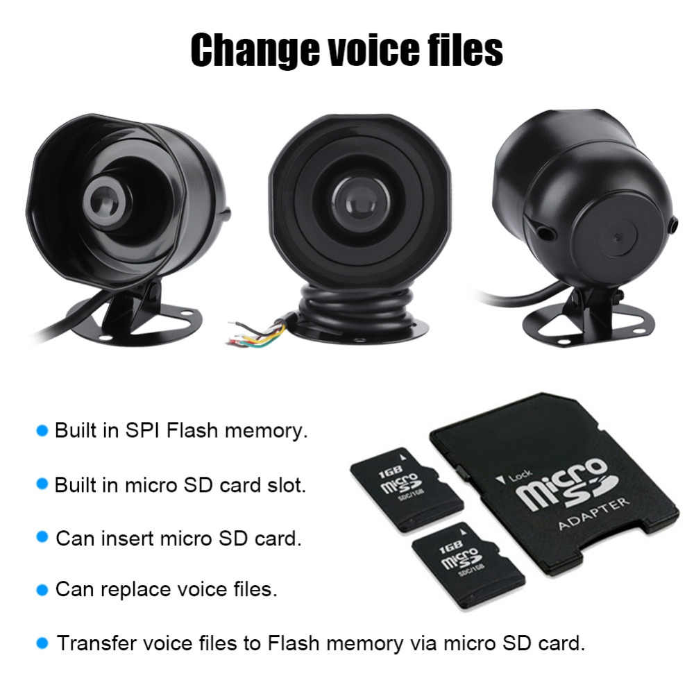 Suara Elektronik Horn Loud Speaker Truk Gudang Sirene Alarm Dukungan MP3 Pemutaran Kartu SD IP65 Tingkat Perlindungan
