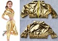 New Spring Fashion Glossy hip hop jazz Costumes Ultra-short Gold Tops Paillette  sexy women's clothing dance wear loose T-shir