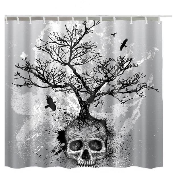 Luxurysmart Tree Forest Fog Skull Custom Shower Curtains Design Creative Curtain Bathroom Waterproof Polyester Fabric