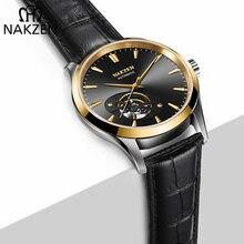 NAKZEN Homens Ocos Automática Japen 82S0 Miyota Relógio Mecânico Marca De Luxo Homem de Couro de Safira relógio de Pulso Relogio masculino