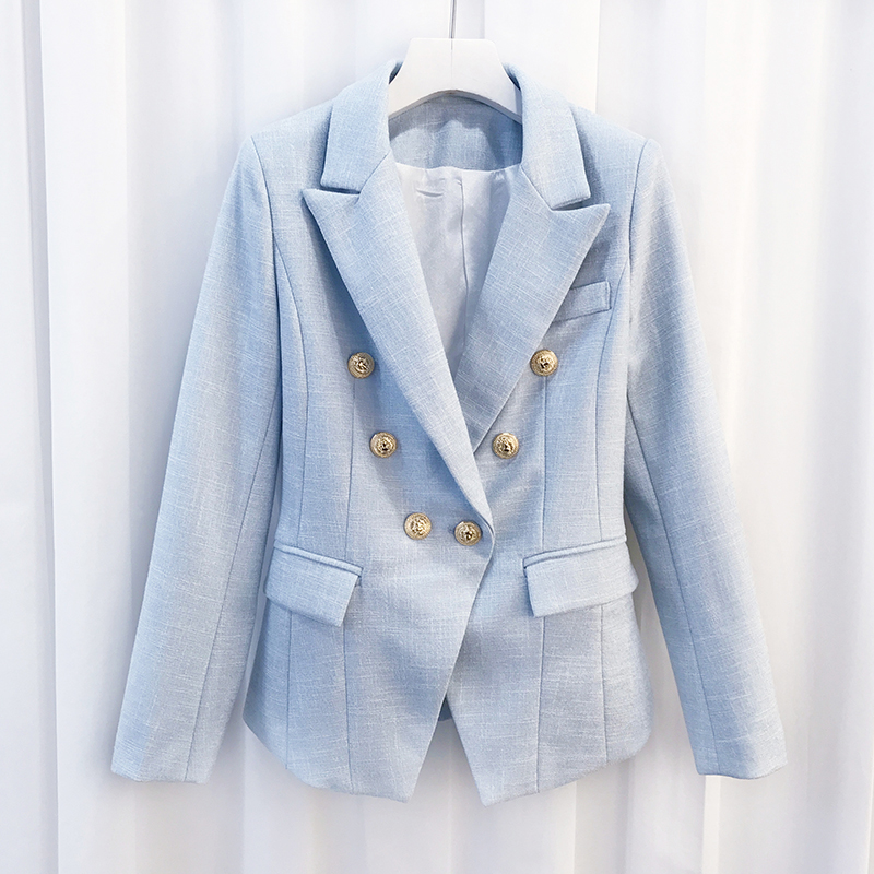 2018 Top Fashion Brand New European Women s Unique Double Breasted Metal Buttons Runway Slim Blazers