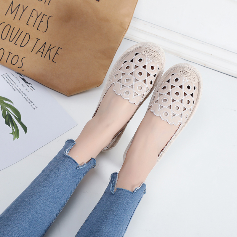 Women Espadrilles Fishermen Shoes Flat Heel Hollow Out Lady Flats Cut Out Slip on Soft Sole 2018 New Women Flats Embroidery 2017 new fashion designer casual espadrilles flat women spring printed white flower embroider slip on fishermen hemp rope shoe