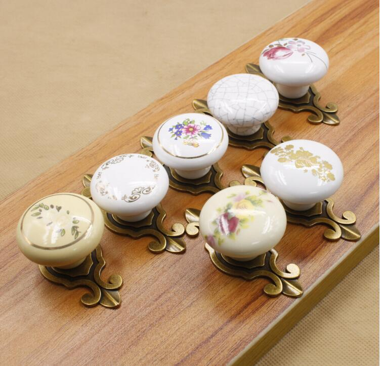 7 Style Available China Flower Furniture Handle & Knob Vintage Ceramic Cabinet Knobs