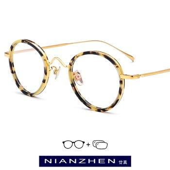 11f2cd3f3c B gafas de acetato de titanio montura para mujeres Vintage gafas redondas  de prescripción para hombres Retro 2019 ovalada miopía gafas ópticas 9117