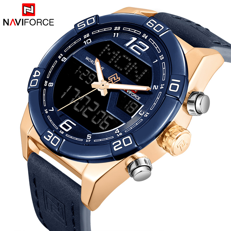 NAVIFORCE Men Fashion Sports Watches Brand Men's Waterproof Quartz Wristwatches Man Leather Army Military led digital Watch 2016 hot brand gimto quartz digital sports watches men leather nylon led military army waterproof diving wristwatch reloj hombre