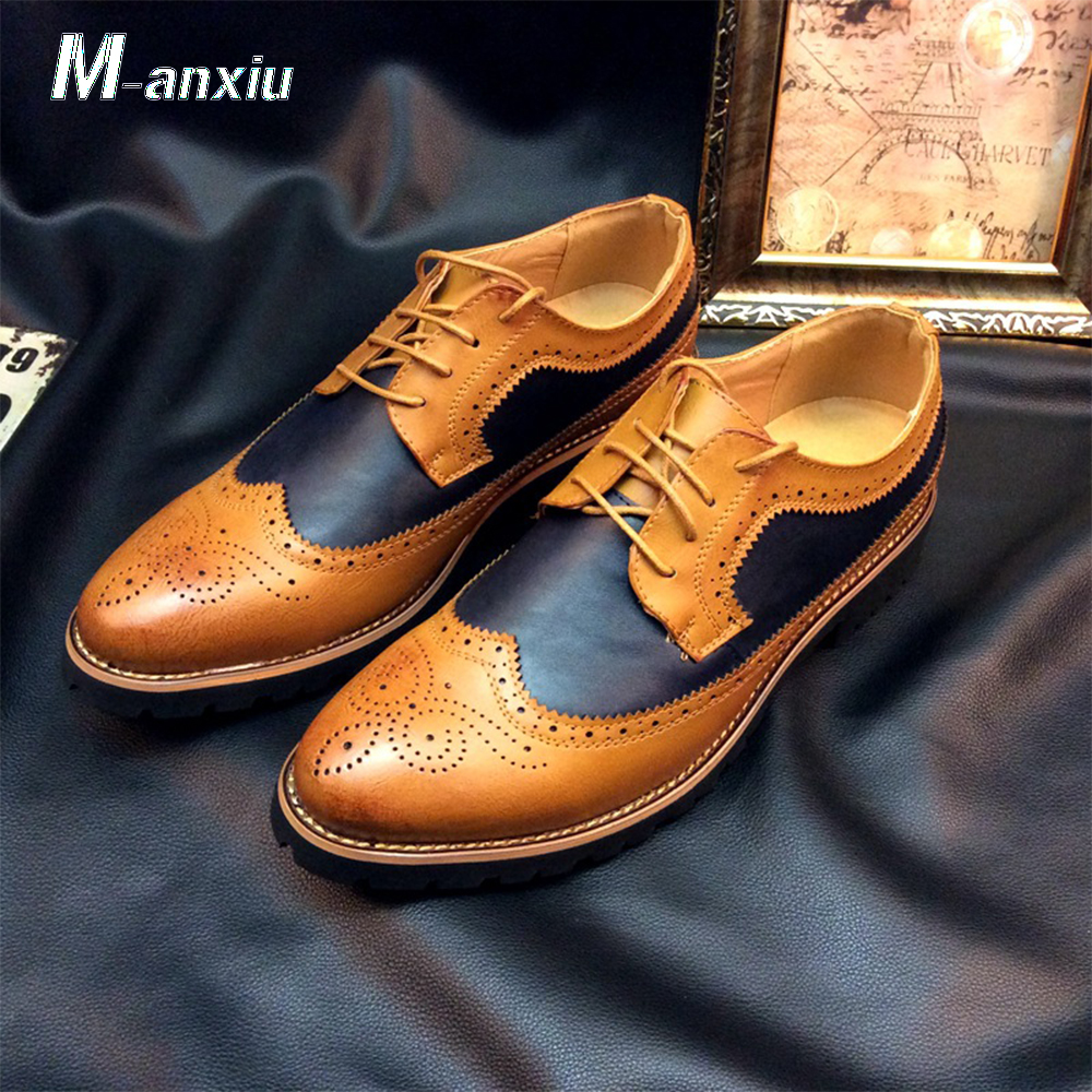 M anxiu Mens Fashion Brogue Shoes Carved Lace Spell Color Shoes Dress Shoes Men's Business Casual Shoes 38 43