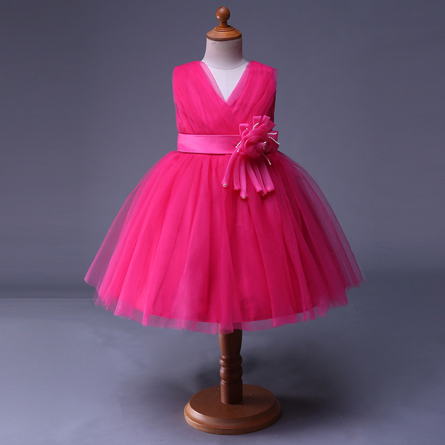 Cutestyles Hot Pink Flower Girl Dress Summer Wedding Birthday Party ...