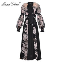 MoaaYina Fashion Dress Spring Women's Lantern sleeve Bow collar Feather see through Mesh Floral Embroidery Sexy party Long Dress цены