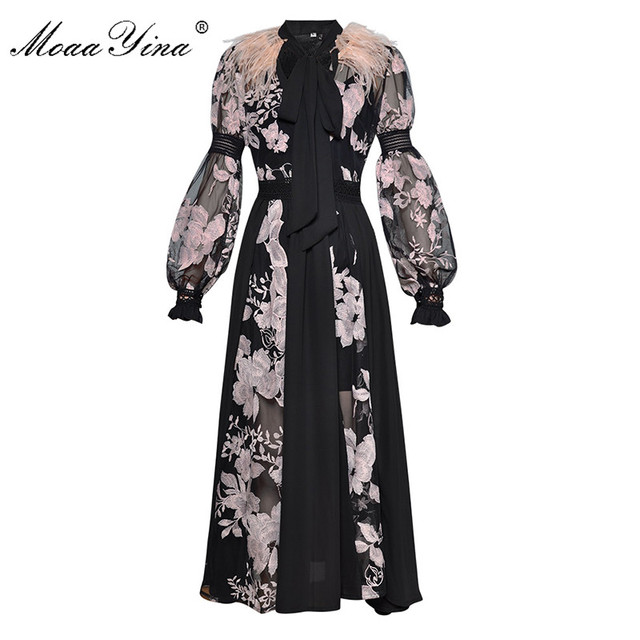 MoaaYina Fashion Dress Spring Women's Lantern sleeve Bow collar Feather see through Mesh Floral Embroidery Sexy party Long Dress
