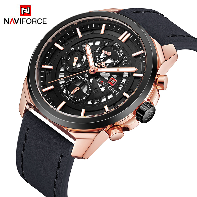 New NAVIFORCE Men Fashion Sport Watches Men's Week Leather Quartz Wrist Watch Male Military Date 24 Hour Clock Relogio Masculino цена