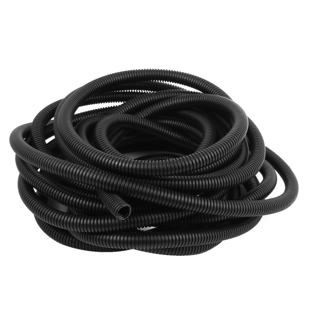 10M Black Plastic 12mm Inner Dia Flexible Corrugated Bellow Conduit Pipe Hose Tube plastic coated metal hose 6410 mi stringing electrical conduit cable wire protection tube jiahouxing