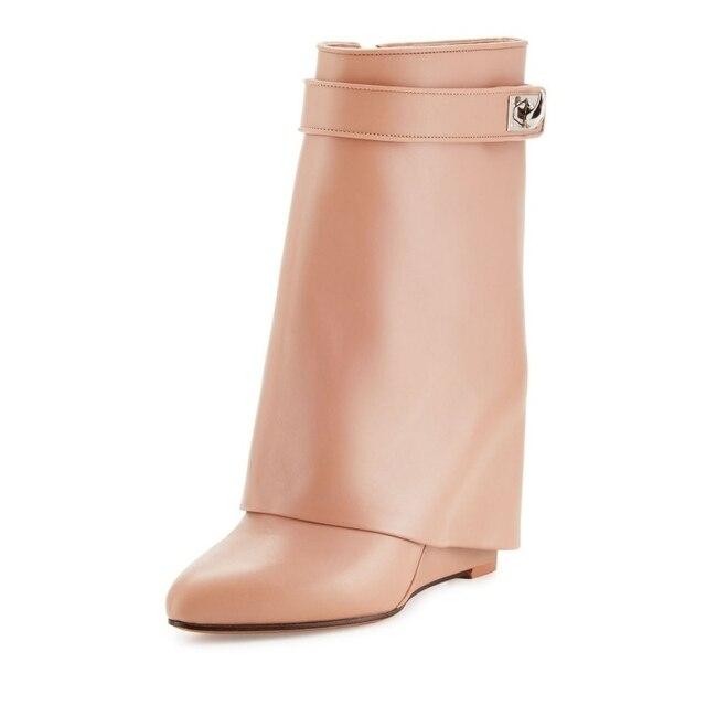 Eunice Choo Shark Lock Belt Strap Mid Calf Boots Hidden Wedge Heel Women Zipper Boots Pointed Toe Leather Suede Solid Shoes