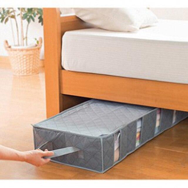 53L Нетканые Уголь Ковров Stuff Одеяло Хранения Организатор Box Бункеры Ясно Камера Одежда Окно Underbed