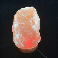 Natural Hand Carved USB Wooden Base Himalayan Crystal Rock Salt Lamp Air Purifier Night Light S08