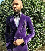 Tailor Made Purple Velvet Men Suits Slim Fit Groom Blazer Prom Costume Mariage Homme 2018 Luxury Brand 2 Piece Tuxedo Jacket Men