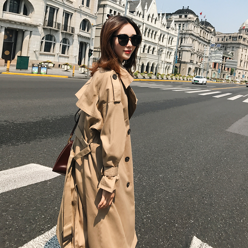 maxi   trench   coat loose outwear cotton oversize outfit women office lady 2018 fall england style luxury brand khaki high quality
