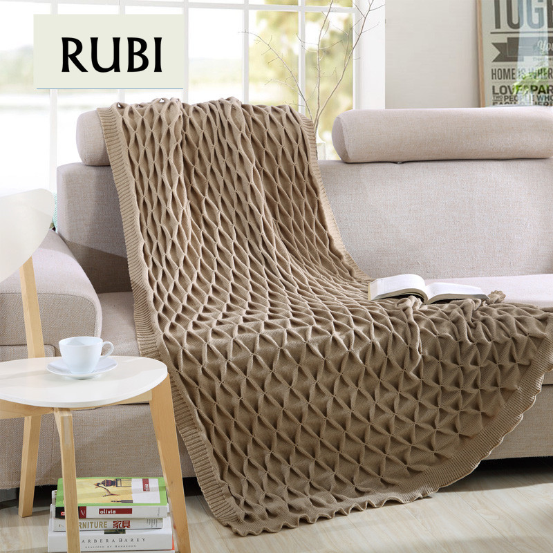 Rubihome brand 100% acrylic knitted thread throw blanket modern geometric relief design for taking a nap in office home hotel