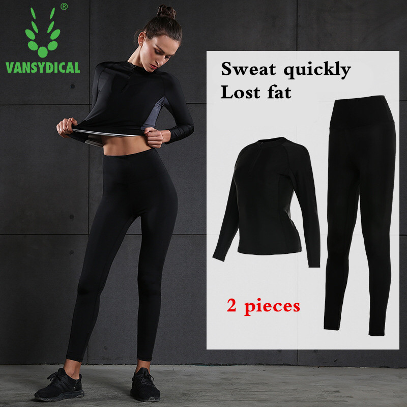 Fitness Women Yoga Gym Running Sports Suit Lady Tight Clothing Breathable Quick Dry Sportswear Sets black Tracksuit Lose Fat