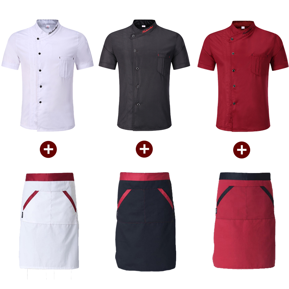 Single Breasted Restaurant Kitchen Chef Work Uniforms Short Sleeve Breathable Embroidery Bakery Cafe Hotel Waiter Jackets Aprons