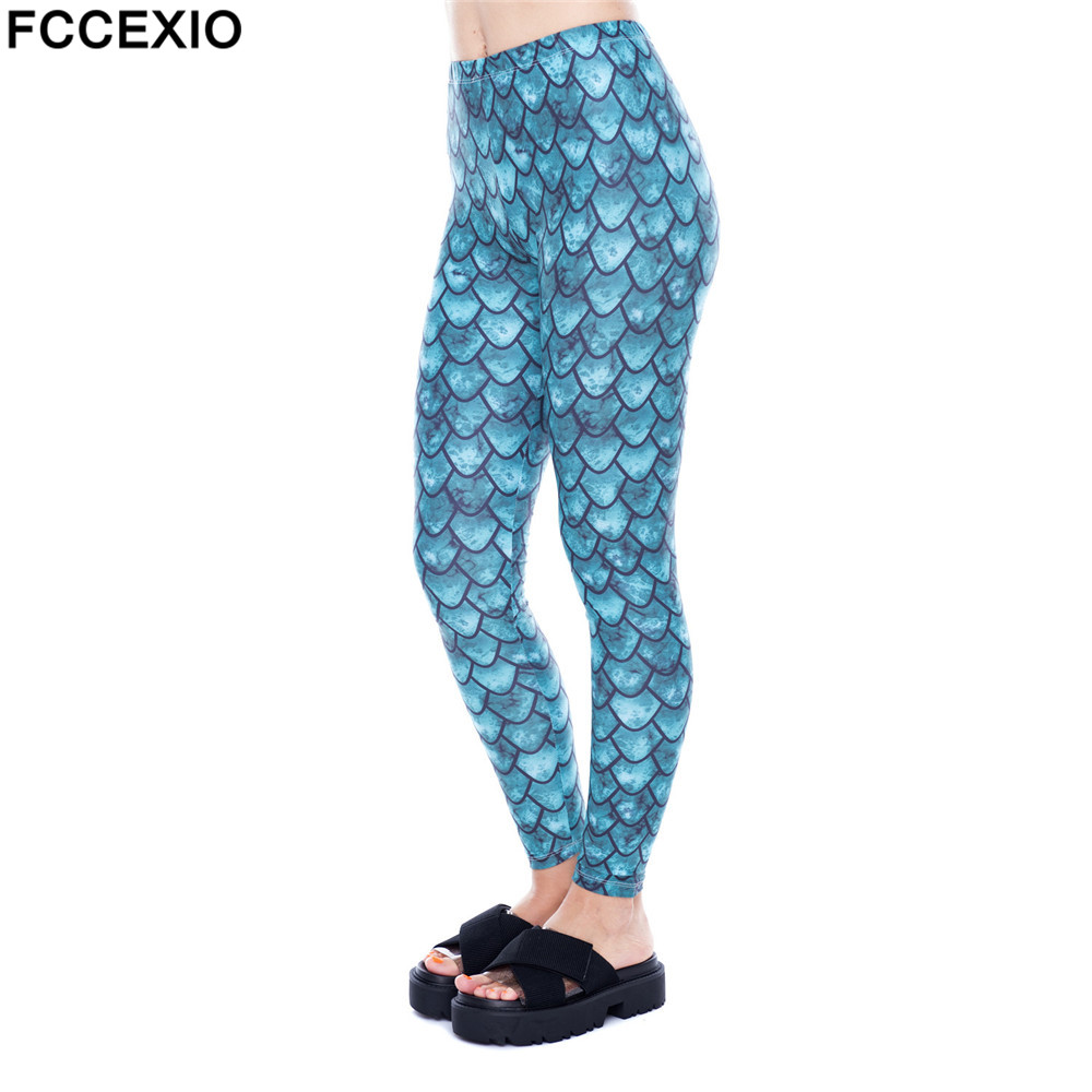 Fccexio 2019 New Women Gym Leggings High Waist Fitness Legging Dragon Scale Printed Leggins Female Pants Workout Slim Trousers