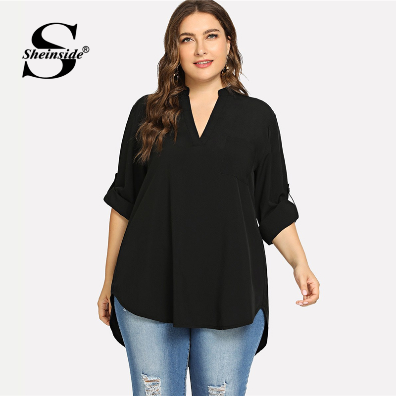 Sheinside Plus Size 4 Color V Neck Roll Up Sleeve Top Asymmetrical Long Chiffon Blouse Women Shirts 2019 Womens Tops And Blouses