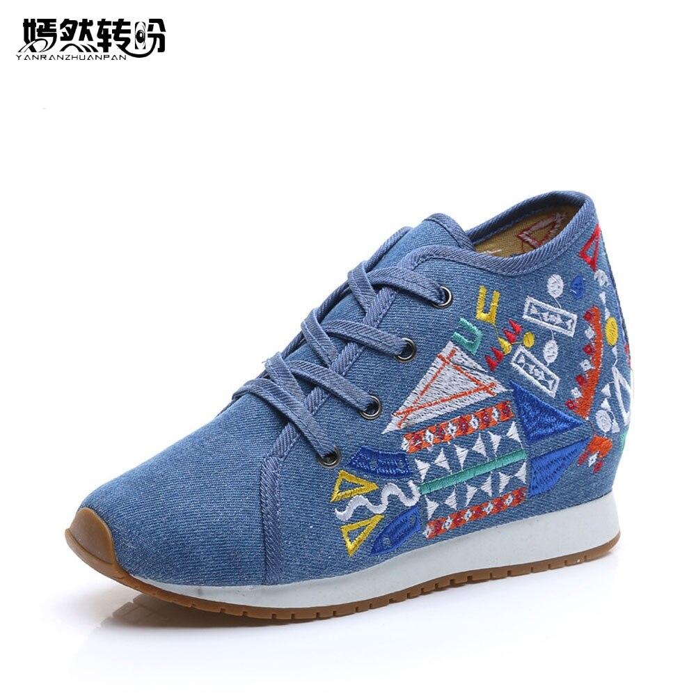 Vintage cipő geometriai hímzett cipő női vászon utazási cipő csipke fel puha farmer pamut platformok Zapatos Mujer