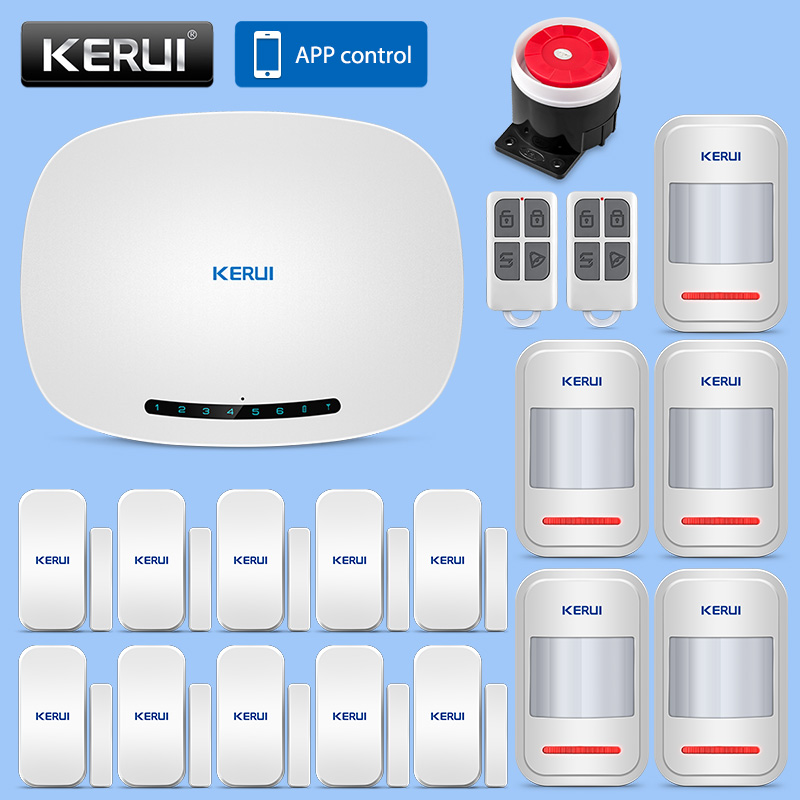 KERUI IOS/Android APP Remote Control Alarm System Security Home 433MHz Wireless GSM SMS Business Burglar Alarm Solar Siren Kit