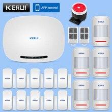 KERUI IOS/Android APP Remote Control Alarm System Security Home 433MHz Wireless GSM SMS Business Burglar Alarm Solar Siren Kit